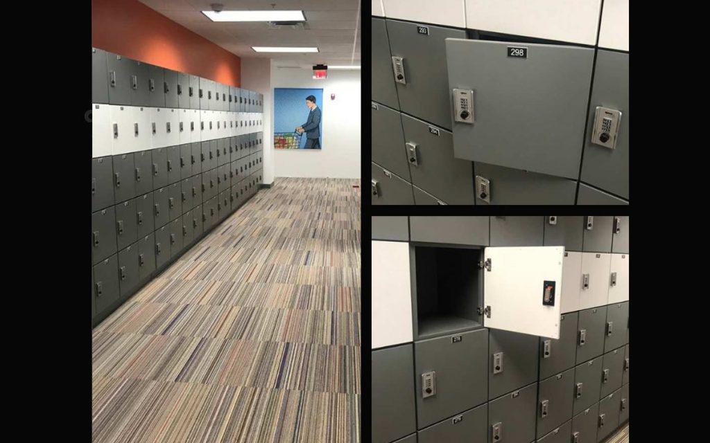 Ojmar Combi Pro Combination lock on square grey lockers