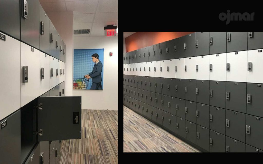 Ojmar Combi combination Lock on dark grey lockers
