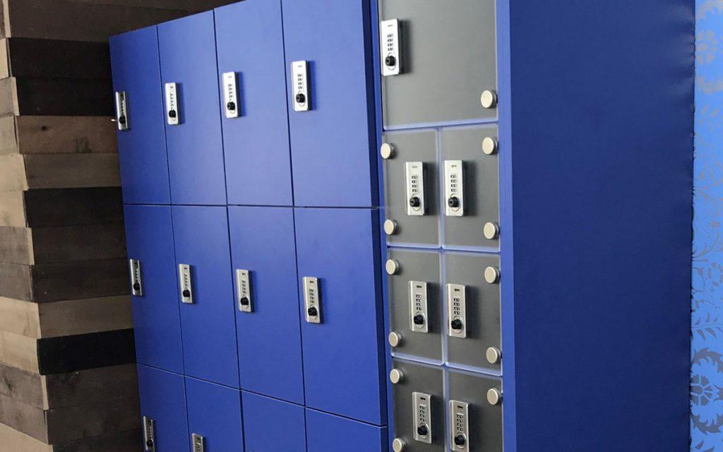 Ojmar Combi Combination lock on Blue Lockers