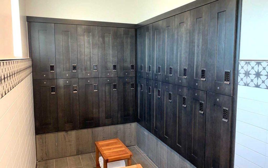 Ojmar digital keypad Silver locks on Charcoal lockers for spa