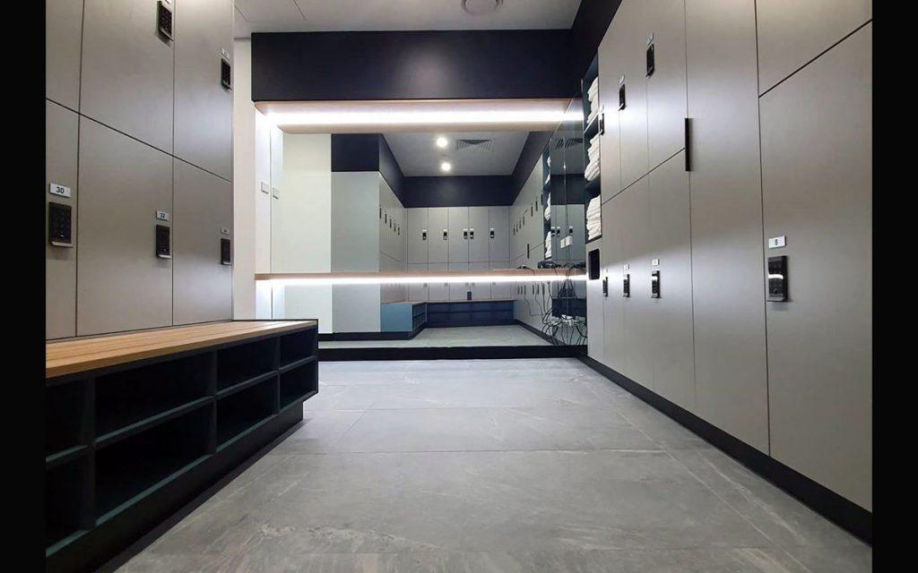 Ojmar digital keypad black locks on grey lockers for gym