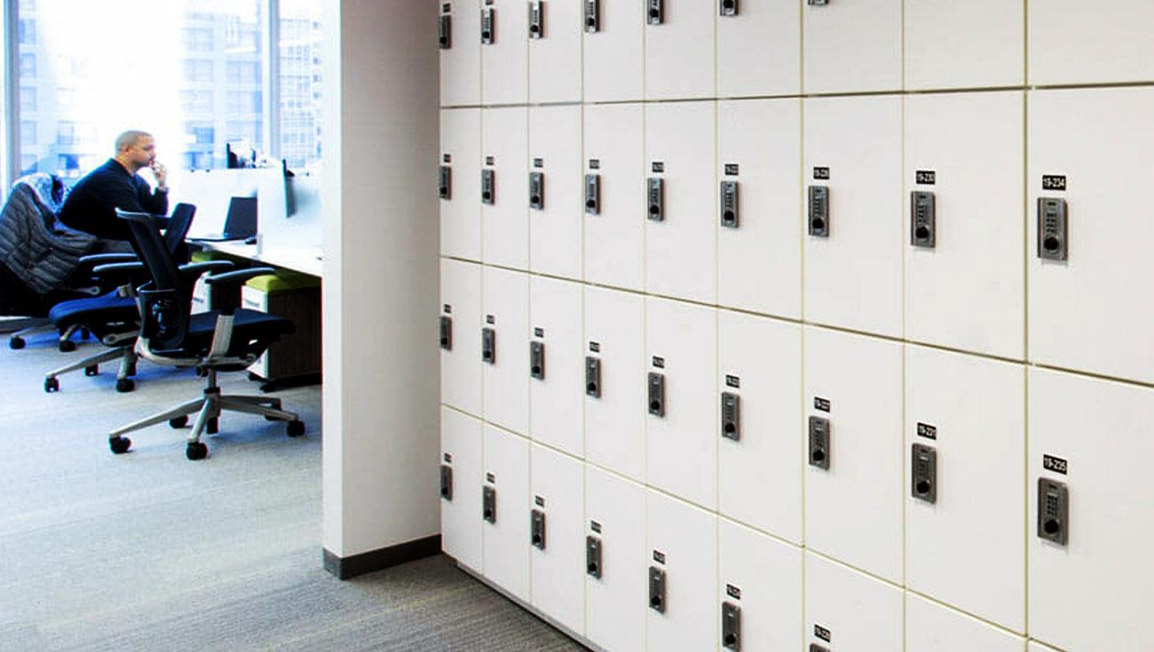 Ojmar Combi Combination lock on White office space lockers