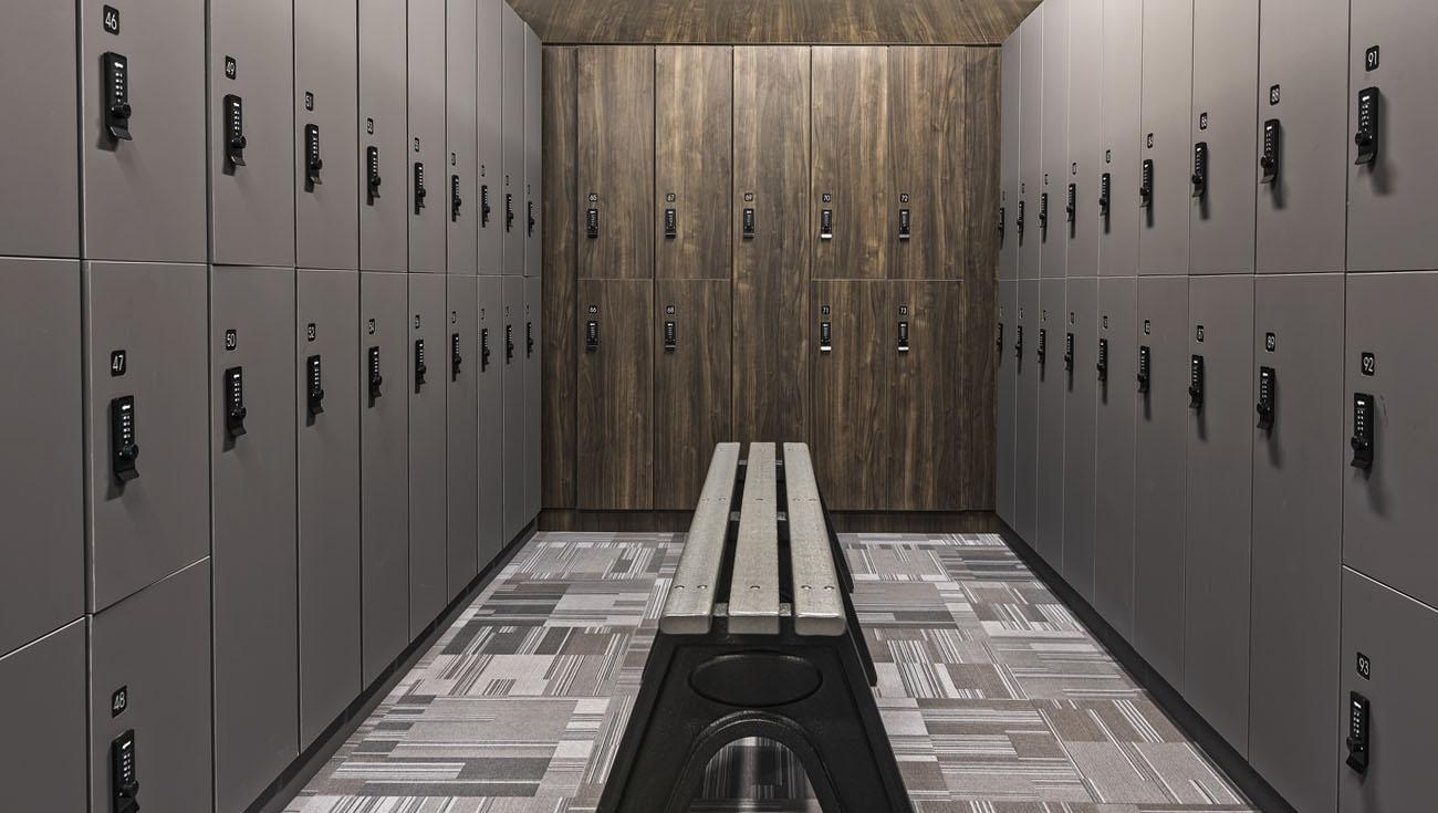 Ojmar Combi Pro combination lock on lockers for Fitness center