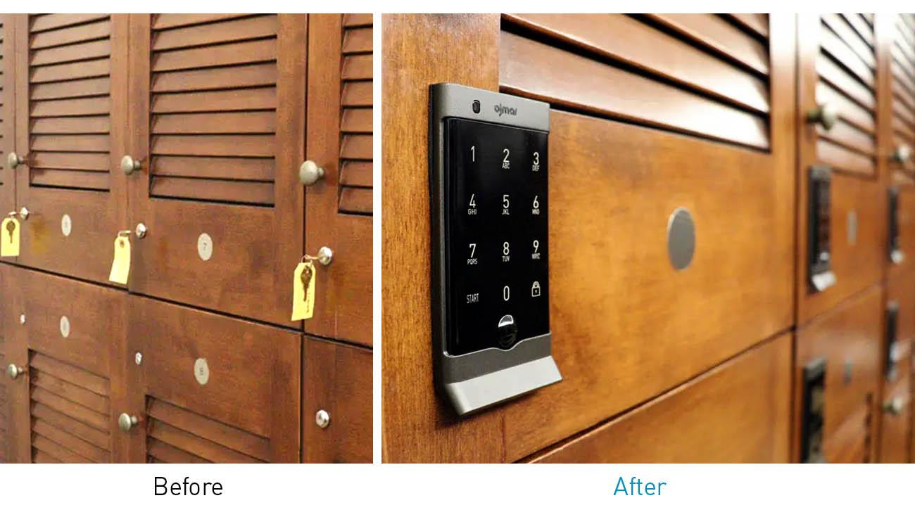 Electronic touchpad lock on wooden Locker