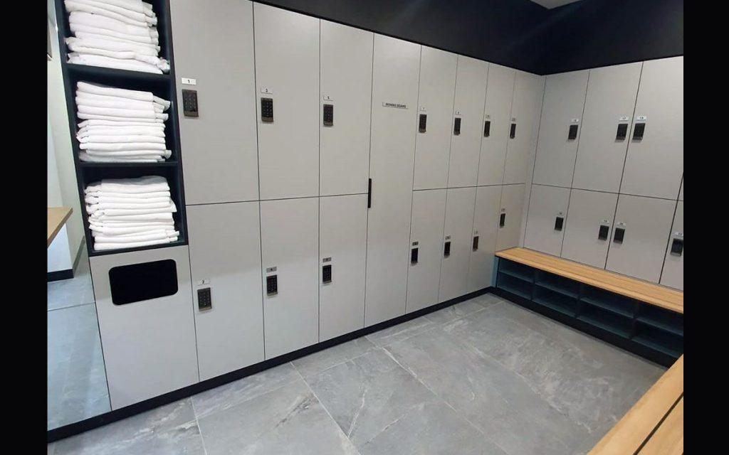 Ojmar Black Electronic touchpad locks on grey lockers