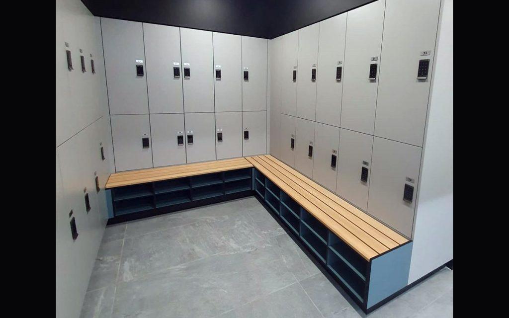 Ojmar Grey electronic touchpad locks on Modern grey lockers