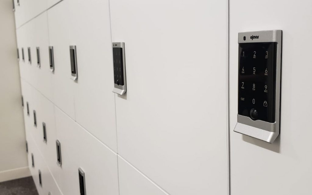 Silver Electronic Lock on White lockers close up