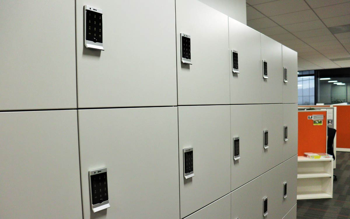 Electronic Touchpad lock on Grey office lockers