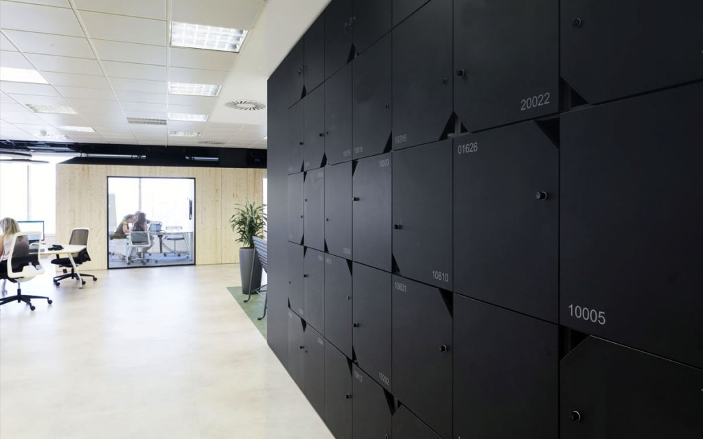 OTS Advance RFID Locks on black lockers in office