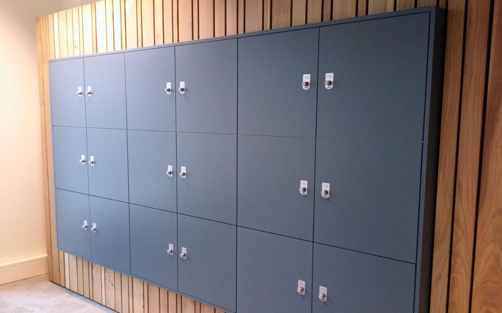 OTS advance RFID Locks on dark Grey lockers