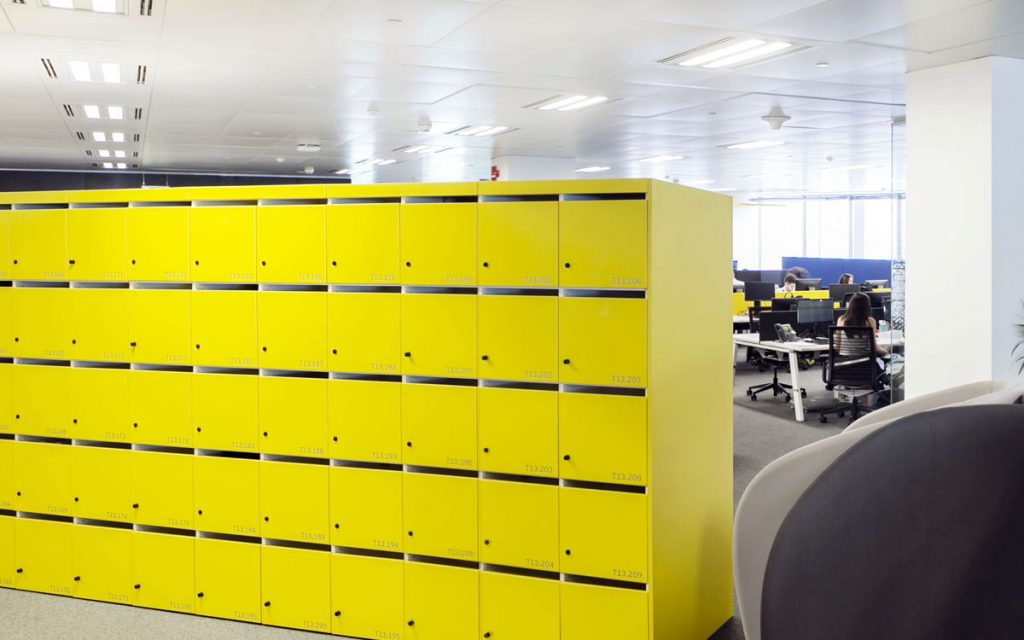 OTS Advance RFID Locks on yellow lockers in office space
