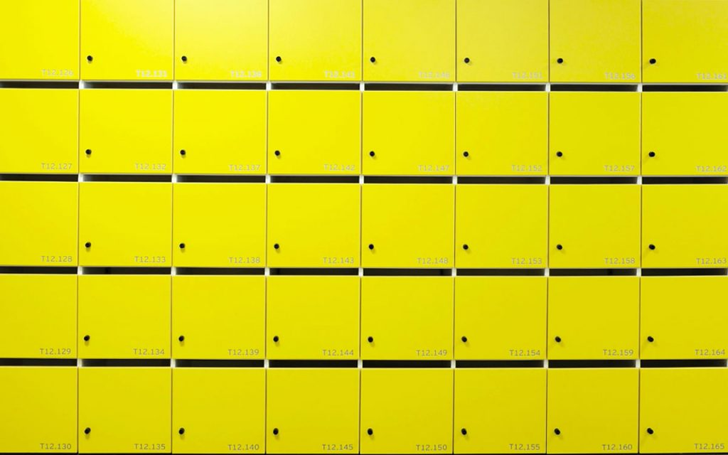 OTS Advance RFID Locks on yellow lockers
