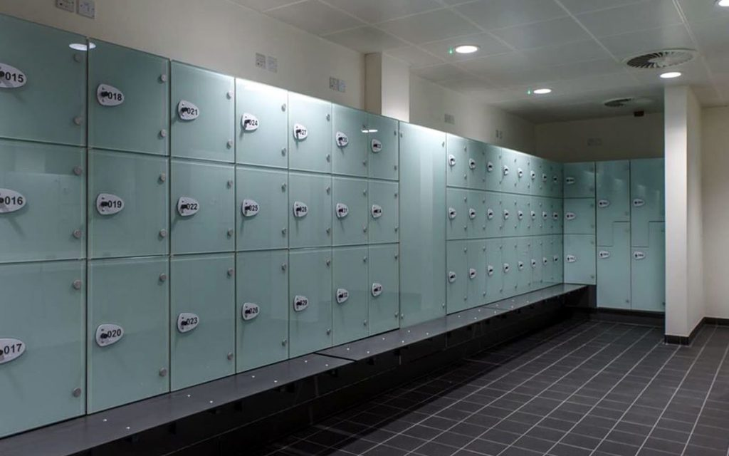 OTS Advance RFID locks on glass lockers in fitness center